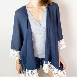 Umgee navy blue open front kimono with crochet c2